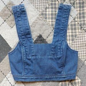 H&M Denim Zip-Back Crop Top